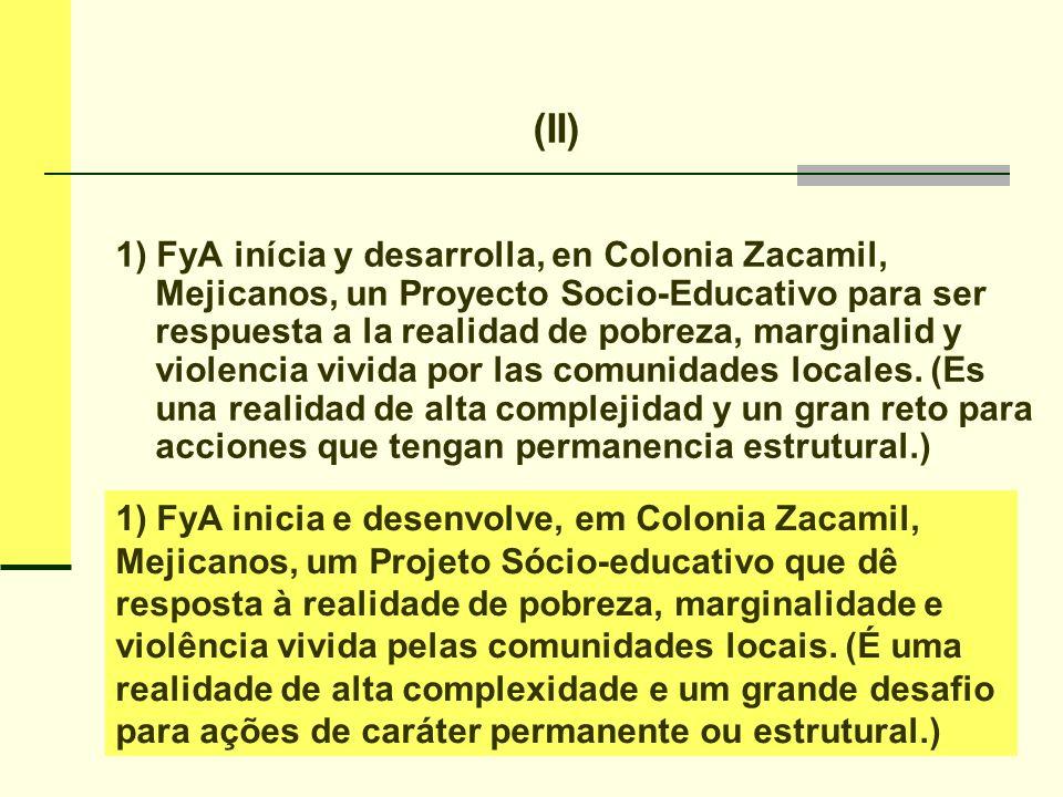 2) En la descrición de la realidad local se destaca: la situación laboral, la vivienda, la salud, la educación, la violencia y la organización local.