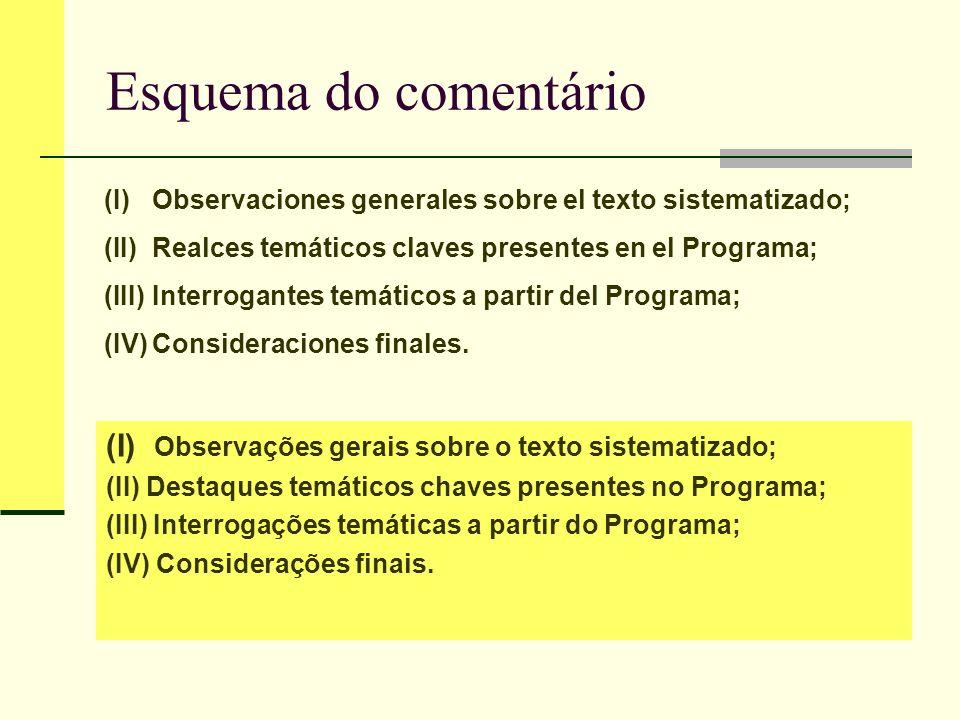 (I) Observaciones generales sobre el texto sistematizado.