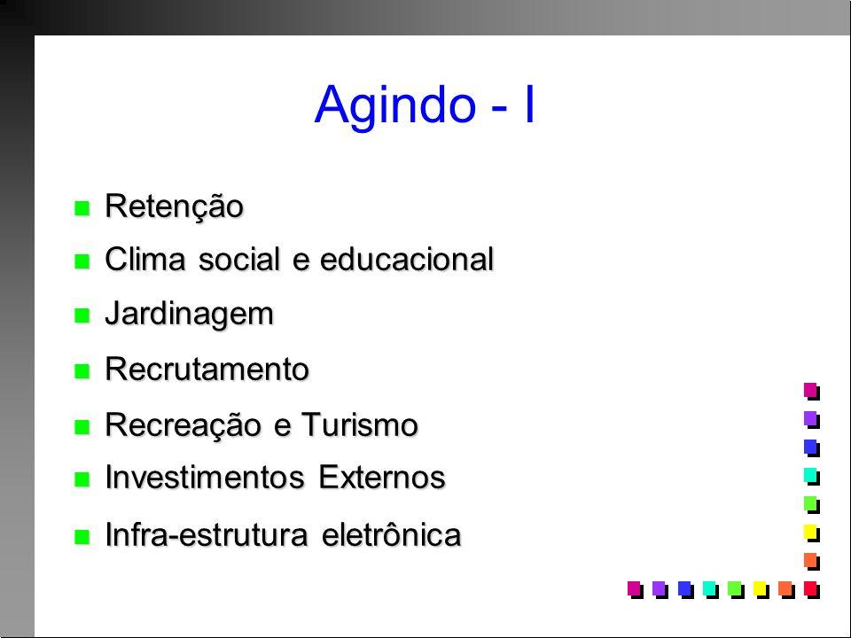 Agindo - I Retenção Retenção Clima social e educacional Clima social e educacional Jardinagem Jardinagem Recrutamento Recrutamento Recreação e Turismo