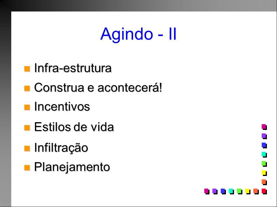 Agindo - II Infra-estrutura Infra-estrutura Construa e acontecerá! Construa e acontecerá! Incentivos Incentivos Estilos de vida Estilos de vida Infilt