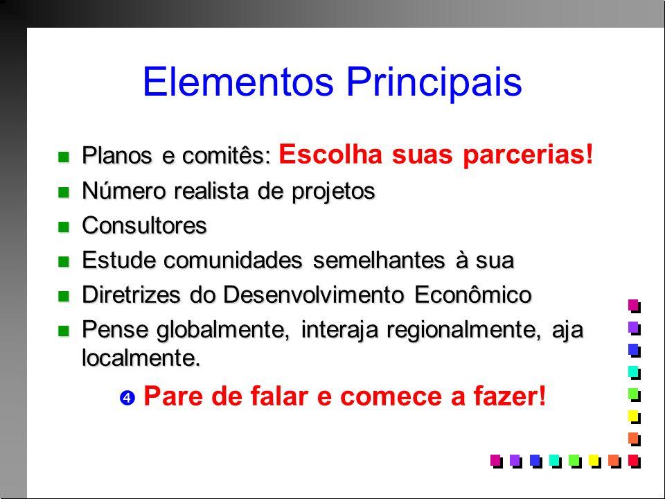 Elementos Principais Planos e comitês: Planos e comitês: Escolha suas parcerias! Número realista de projetos Número realista de projetos Consultores C