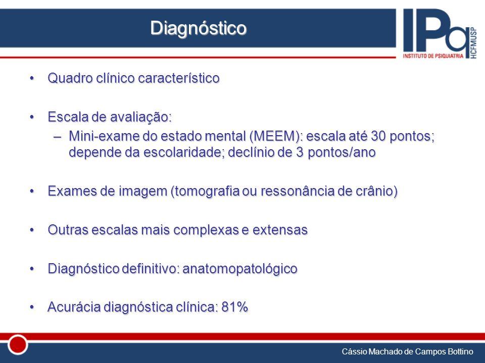 Cássio Machado de Campos Bottino Diagnóstico Quadro clínico característicoQuadro clínico característico Escala de avaliação:Escala de avaliação: –Mini