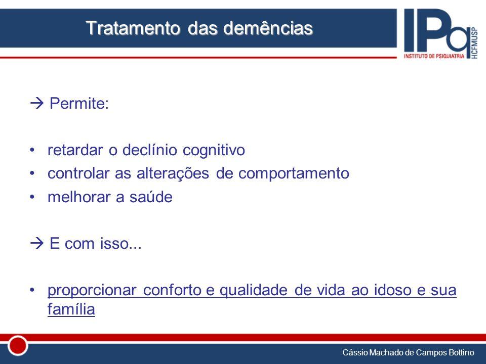 Cássio Machado de Campos Bottino Tratamento das demências Permite: retardar o declínio cognitivo controlar as alterações de comportamento melhorar a s