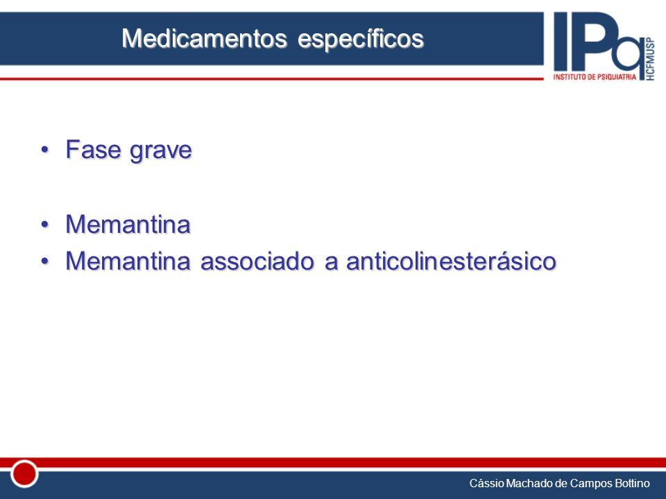 Cássio Machado de Campos Bottino Medicamentos específicos Fase graveFase grave MemantinaMemantina Memantina associado a anticolinesterásicoMemantina a