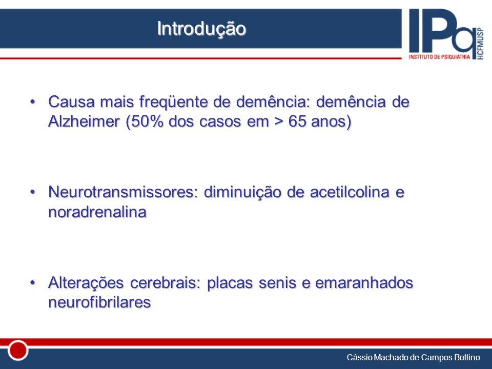 Cássio Machado de Campos Bottino Introdução Causa mais freqüente de demência: demência de Alzheimer (50% dos casos em > 65 anos)Causa mais freqüente d