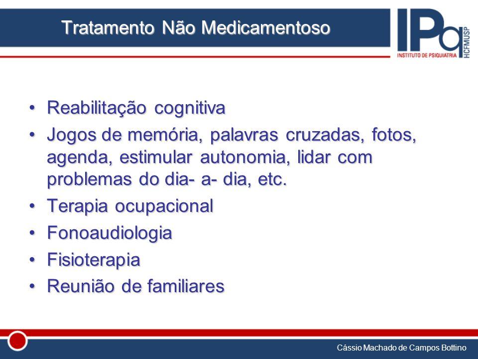 Cássio Machado de Campos Bottino Tratamento Não Medicamentoso Reabilitação cognitivaReabilitação cognitiva Jogos de memória, palavras cruzadas, fotos,