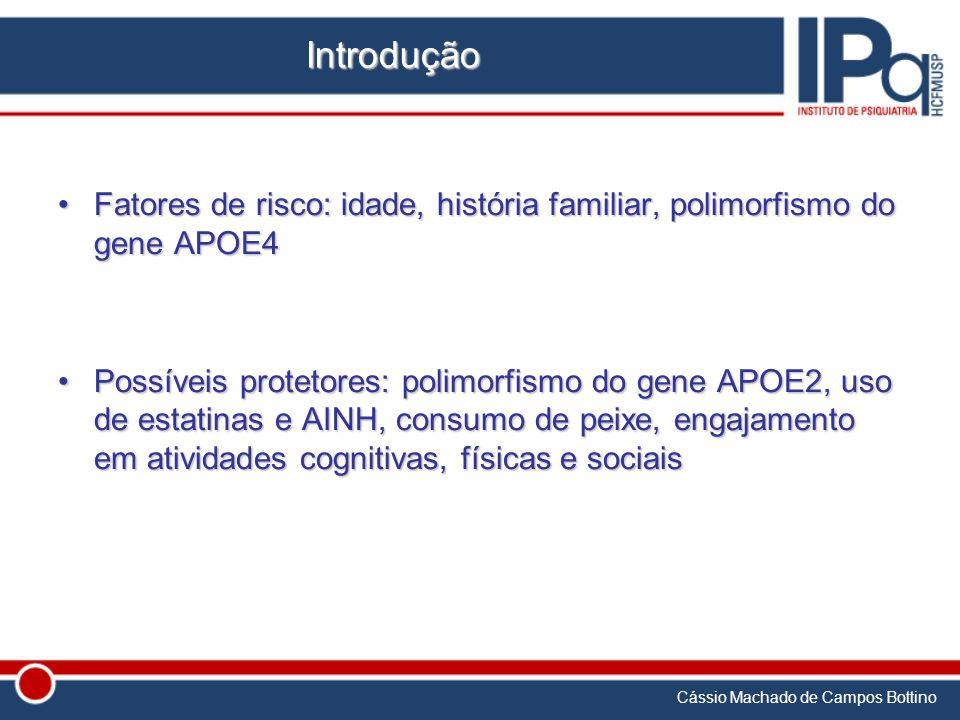 Cássio Machado de Campos Bottino Introdução Fatores de risco: idade, história familiar, polimorfismo do gene APOE4Fatores de risco: idade, história fa