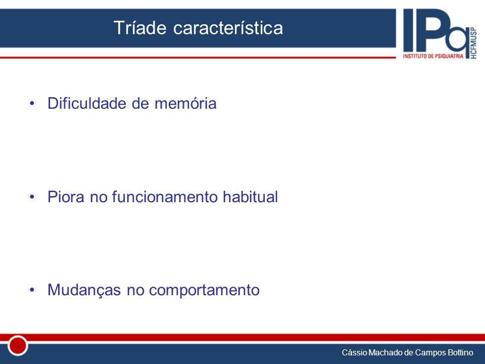 Cássio Machado de Campos Bottino Tríade característica Dificuldade de memória Piora no funcionamento habitual Mudanças no comportamento