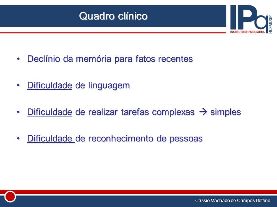 Cássio Machado de Campos Bottino Quadro clínico Declínio da memória para fatos recentesDeclínio da memória para fatos recentes Dificuldade de linguage