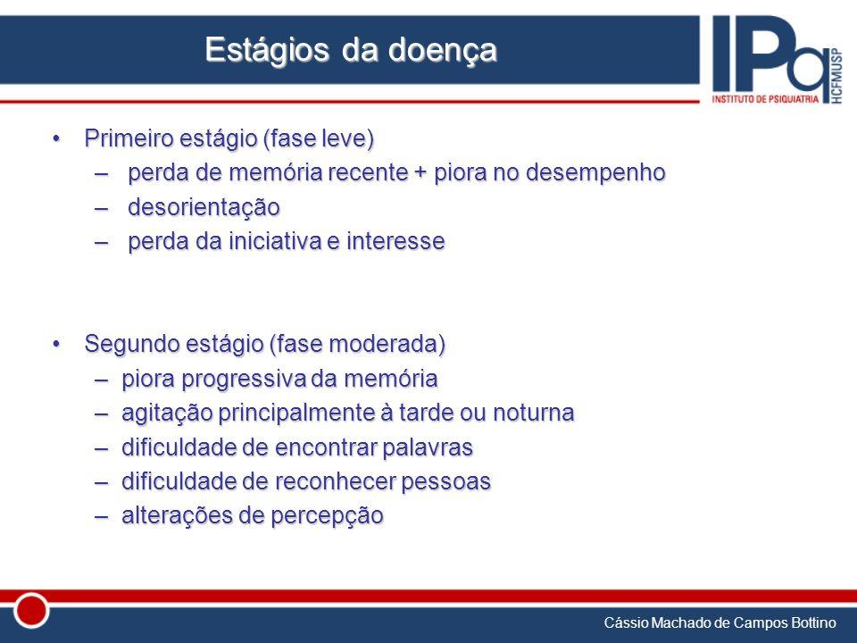Cássio Machado de Campos Bottino Estágios da doença Primeiro estágio (fase leve)Primeiro estágio (fase leve) – perda de memória recente + piora no des
