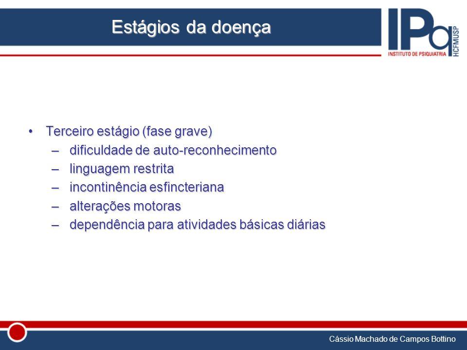 Cássio Machado de Campos Bottino Estágios da doença Terceiro estágio (fase grave)Terceiro estágio (fase grave) – dificuldade de auto-reconhecimento –