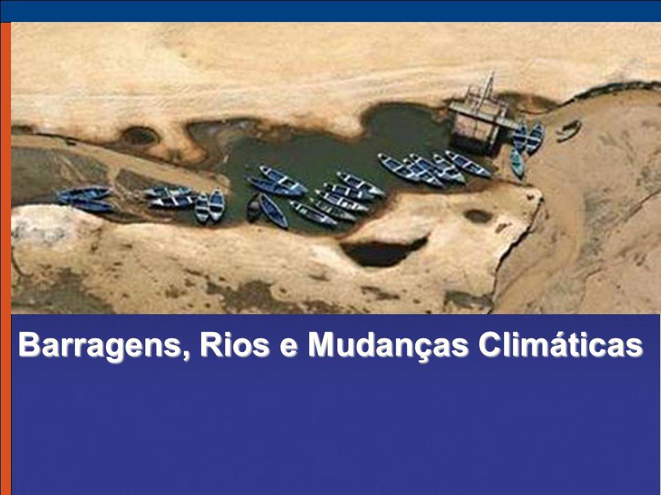 Condições do Rios >54.000 grandes barragens/desvios geram impacto moderado/severo sobre 60% dos rios >500.000 km alterados para navegação 90% do esgoto em países em desenvolvimento não é tratado Metade das áreas úmidas do mundo destruídas Degradação de bacias hidrográficas, mudanças climáticas alterando fluxos 37% das espécies de peixes de água doce ameaçadas, em perigo de extinção ou extintas 40-80 milhões de pessoas deslocadas 472 milhões sofrem perdas de fonte de subsistência à jusante