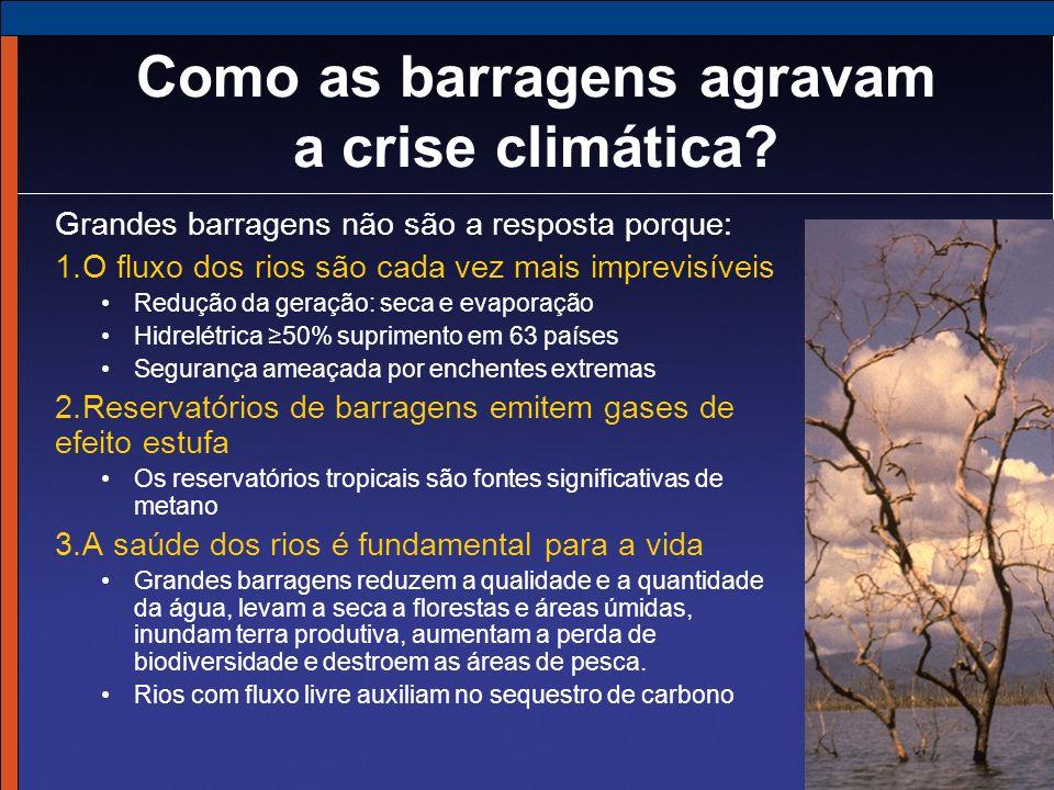 Grandes barragens não são a resposta porque: 1.O fluxo dos rios são cada vez mais imprevisíveis Redução da geração: seca e evaporação Hidrelétrica 50%