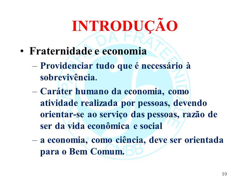 INTRODUÇÃO Fraternidade e economia –Providenciar tudo que é necessário à sobrevivência. –Caráter humano da economia, como atividade realizada por pess