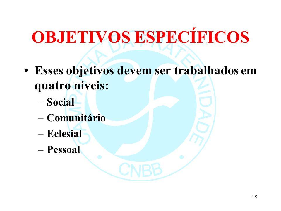 OBJETIVOS ESPECÍFICOS Esses objetivos devem ser trabalhados em quatro níveis: –Social –Comunitário –Eclesial –Pessoal 15