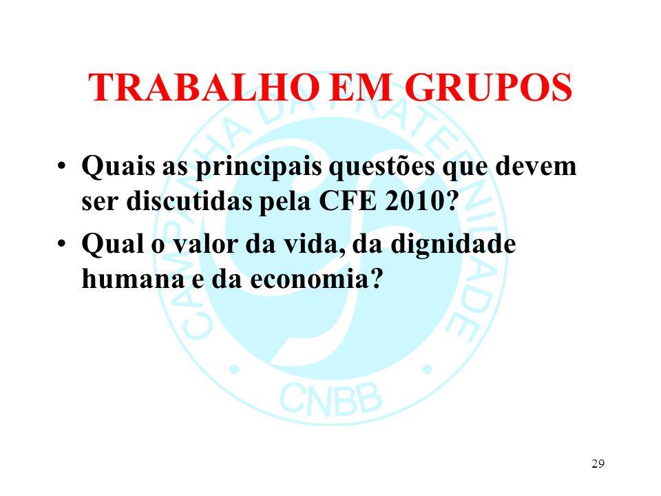 TRABALHO EM GRUPOS Quais as principais questões que devem ser discutidas pela CFE 2010? Qual o valor da vida, da dignidade humana e da economia? 29