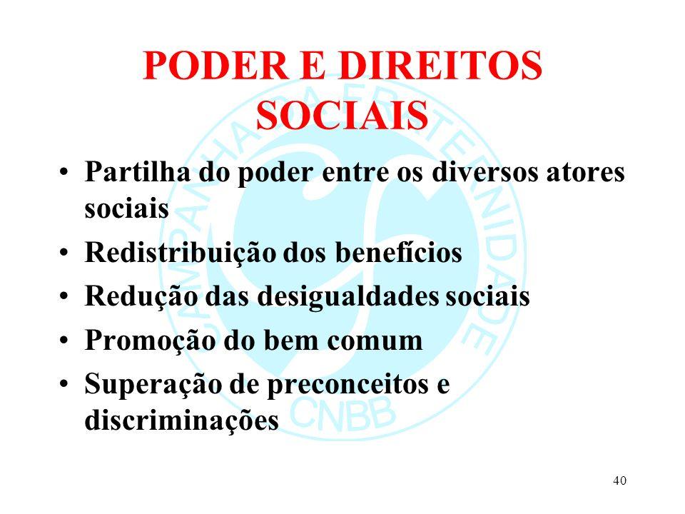 PODER E DIREITOS SOCIAIS Partilha do poder entre os diversos atores sociais Redistribuição dos benefícios Redução das desigualdades sociais Promoção d