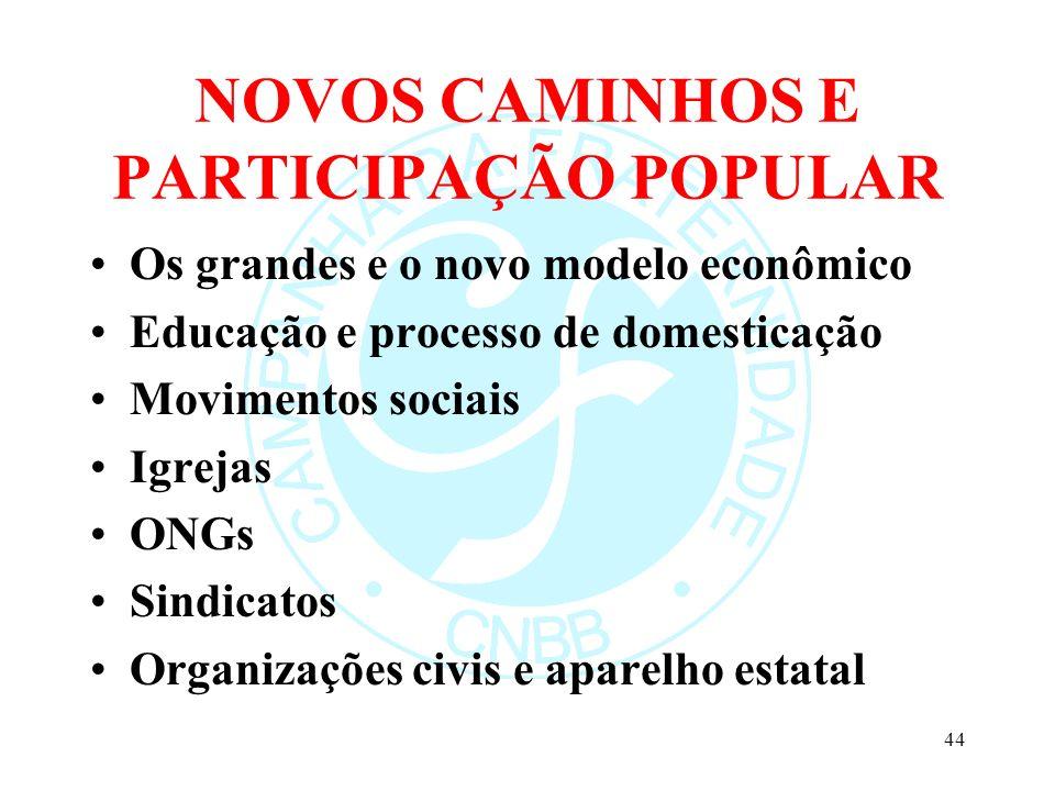 NOVOS CAMINHOS E PARTICIPAÇÃO POPULAR Os grandes e o novo modelo econômico Educação e processo de domesticação Movimentos sociais Igrejas ONGs Sindica