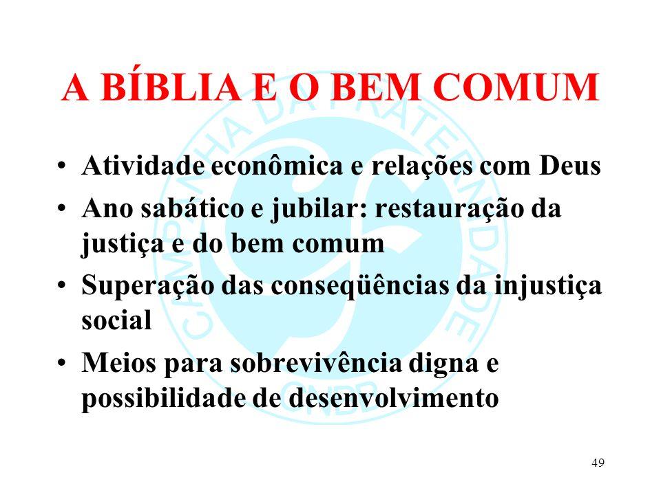 A BÍBLIA E O BEM COMUM Atividade econômica e relações com Deus Ano sabático e jubilar: restauração da justiça e do bem comum Superação das conseqüênci