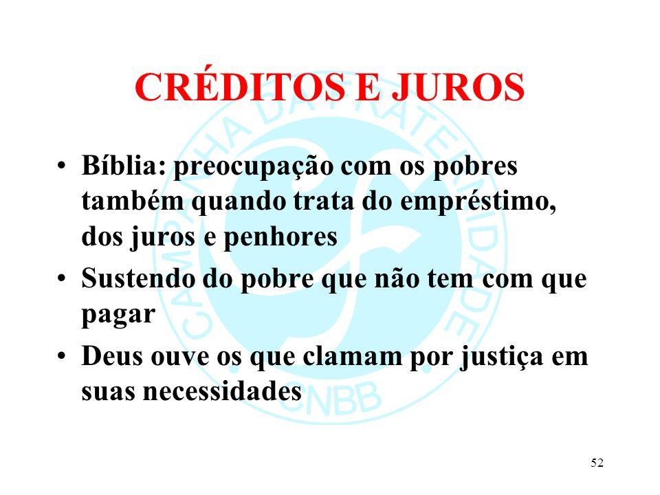 CRÉDITOS E JUROS Bíblia: preocupação com os pobres também quando trata do empréstimo, dos juros e penhores Sustendo do pobre que não tem com que pagar