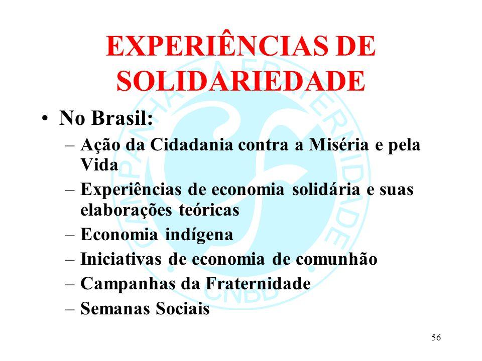 EXPERIÊNCIAS DE SOLIDARIEDADE No Brasil: –Ação da Cidadania contra a Miséria e pela Vida –Experiências de economia solidária e suas elaborações teóric