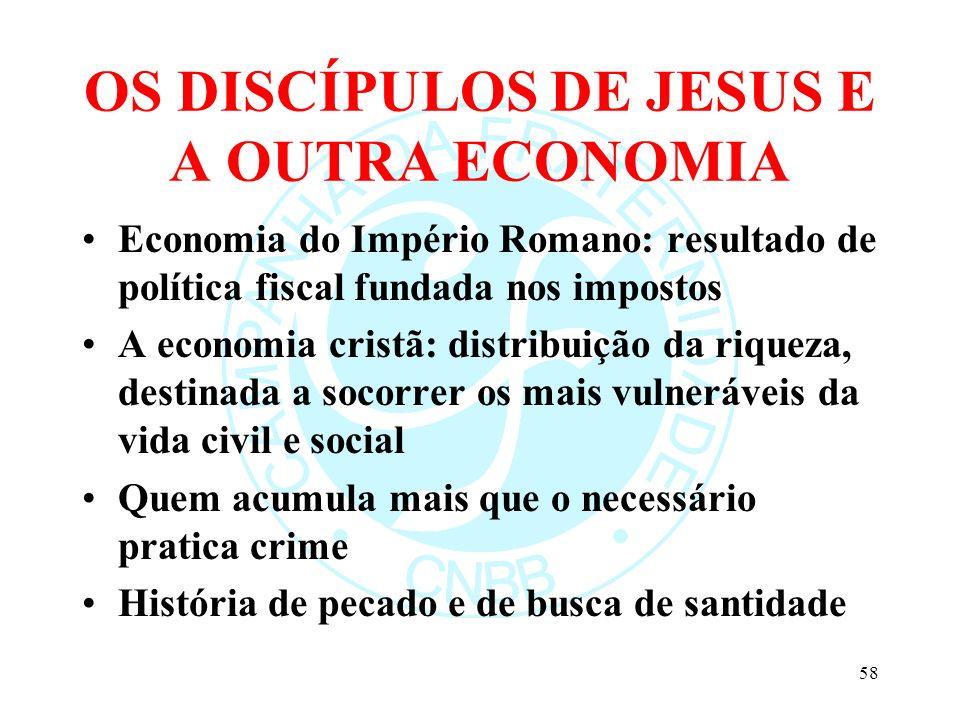OS DISCÍPULOS DE JESUS E A OUTRA ECONOMIA Economia do Império Romano: resultado de política fiscal fundada nos impostos A economia cristã: distribuiçã