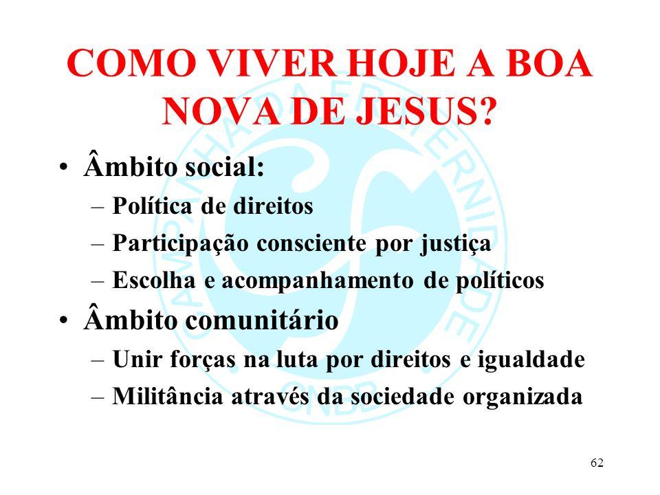 COMO VIVER HOJE A BOA NOVA DE JESUS? Âmbito social: –Política de direitos –Participação consciente por justiça –Escolha e acompanhamento de políticos