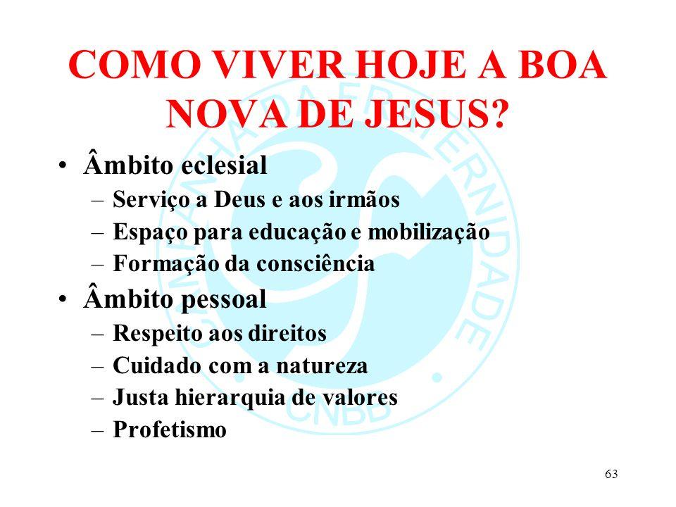 COMO VIVER HOJE A BOA NOVA DE JESUS? Âmbito eclesial –Serviço a Deus e aos irmãos –Espaço para educação e mobilização –Formação da consciência Âmbito