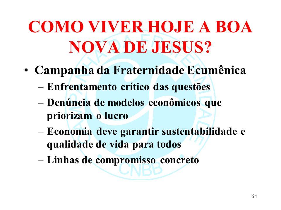 COMO VIVER HOJE A BOA NOVA DE JESUS? Campanha da Fraternidade Ecumênica –Enfrentamento crítico das questões –Denúncia de modelos econômicos que priori