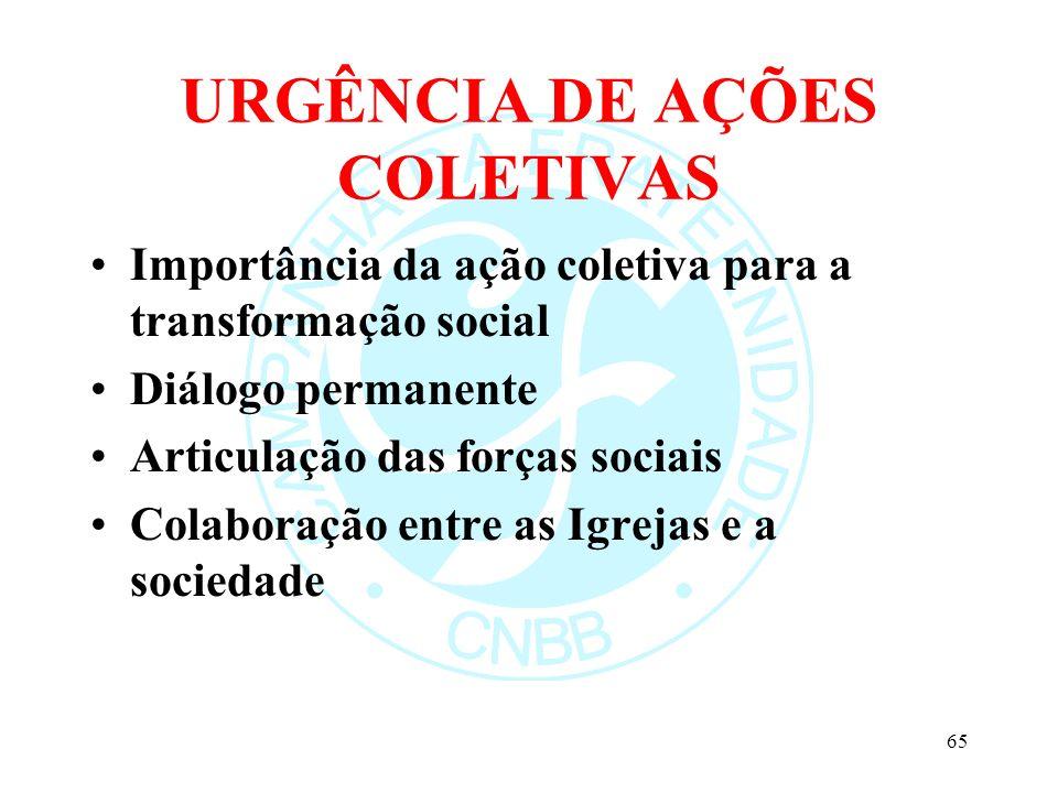 URGÊNCIA DE AÇÕES COLETIVAS Importância da ação coletiva para a transformação social Diálogo permanente Articulação das forças sociais Colaboração ent