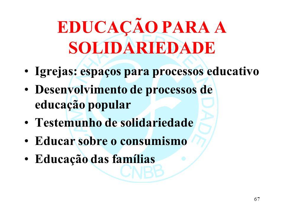 EDUCAÇÃO PARA A SOLIDARIEDADE Igrejas: espaços para processos educativo Desenvolvimento de processos de educação popular Testemunho de solidariedade E