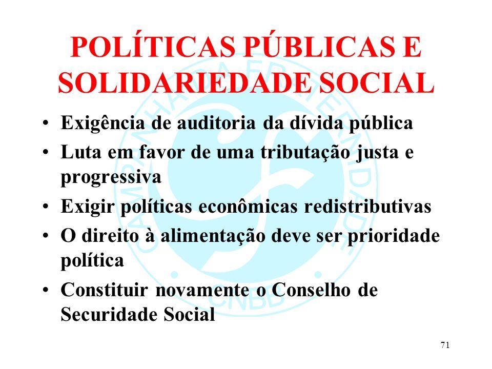 POLÍTICAS PÚBLICAS E SOLIDARIEDADE SOCIAL Exigência de auditoria da dívida pública Luta em favor de uma tributação justa e progressiva Exigir política