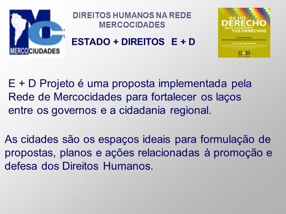 DIREITOS HUMANOS NA REDE MERCOCIDADES ESTADO + DIREITOS E + D E + D Projeto é uma proposta implementada pela Rede de Mercocidades para fortalecer os l