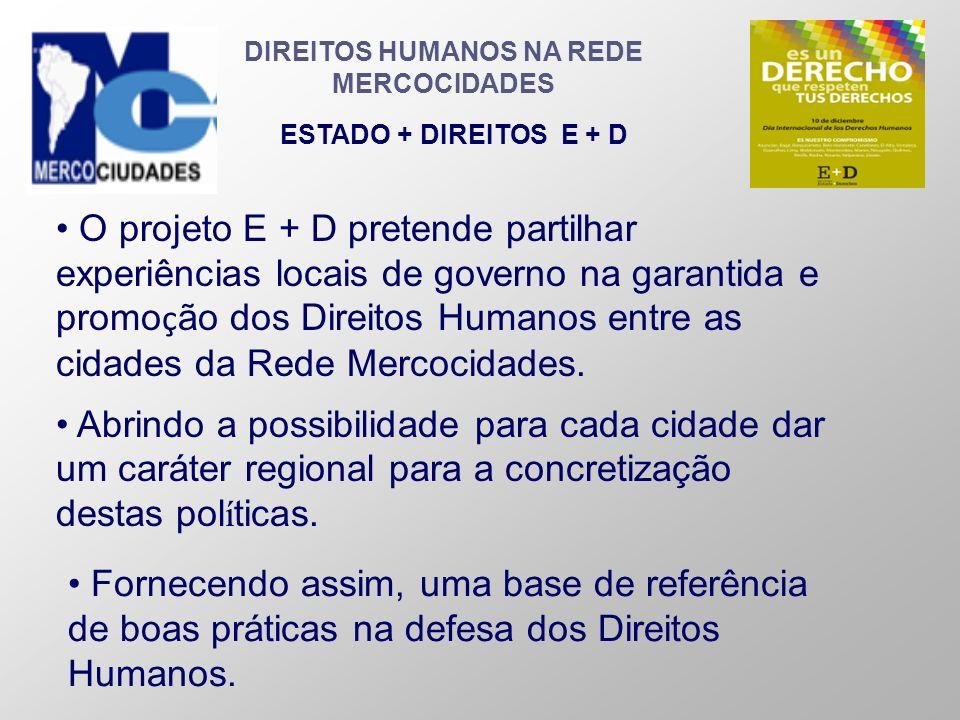 DIREITOS HUMANOS NA REDE MERCOCIDADES ESTADO + DIREITOS E + D Fornecendo assim, uma base de referência de boas práticas na defesa dos Direitos Humanos