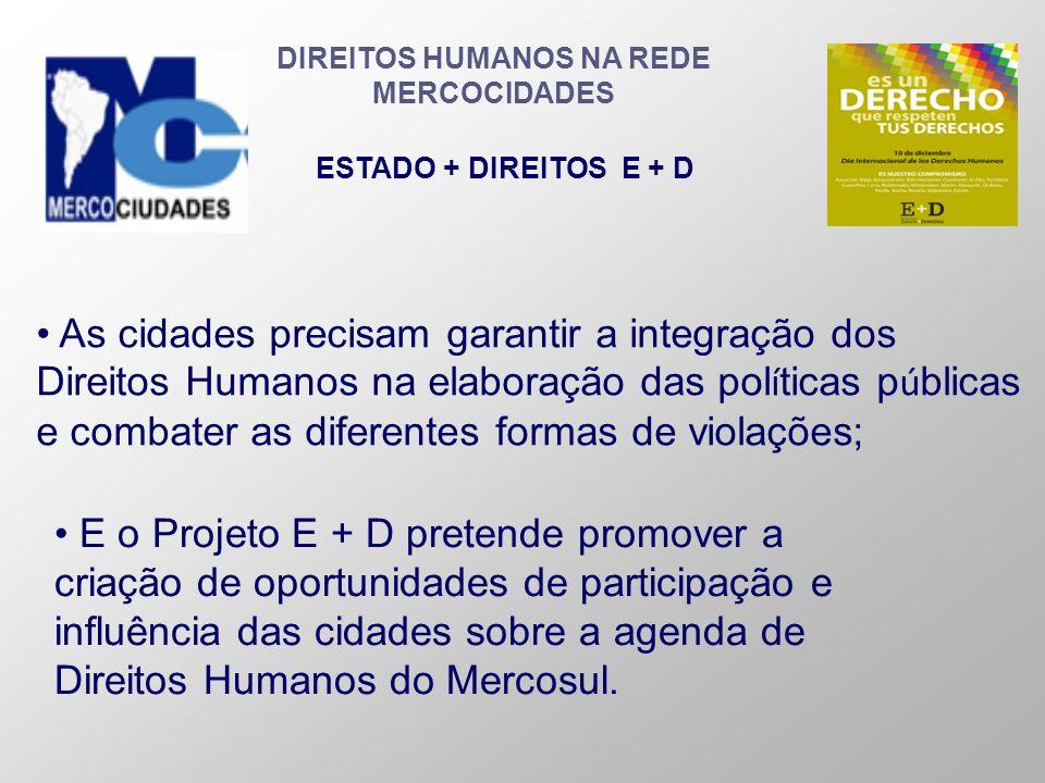 DIREITOS HUMANOS NA REDE MERCOCIDADES ESTADO + DIREITOS E + D As cidades precisam garantir a integração dos Direitos Humanos na elaboração das pol í t
