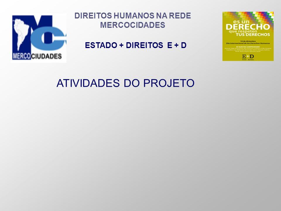 DIREITOS HUMANOS NA REDE MERCOCIDADES ESTADO + DIREITOS E + D ATIVIDADES DO PROJETO