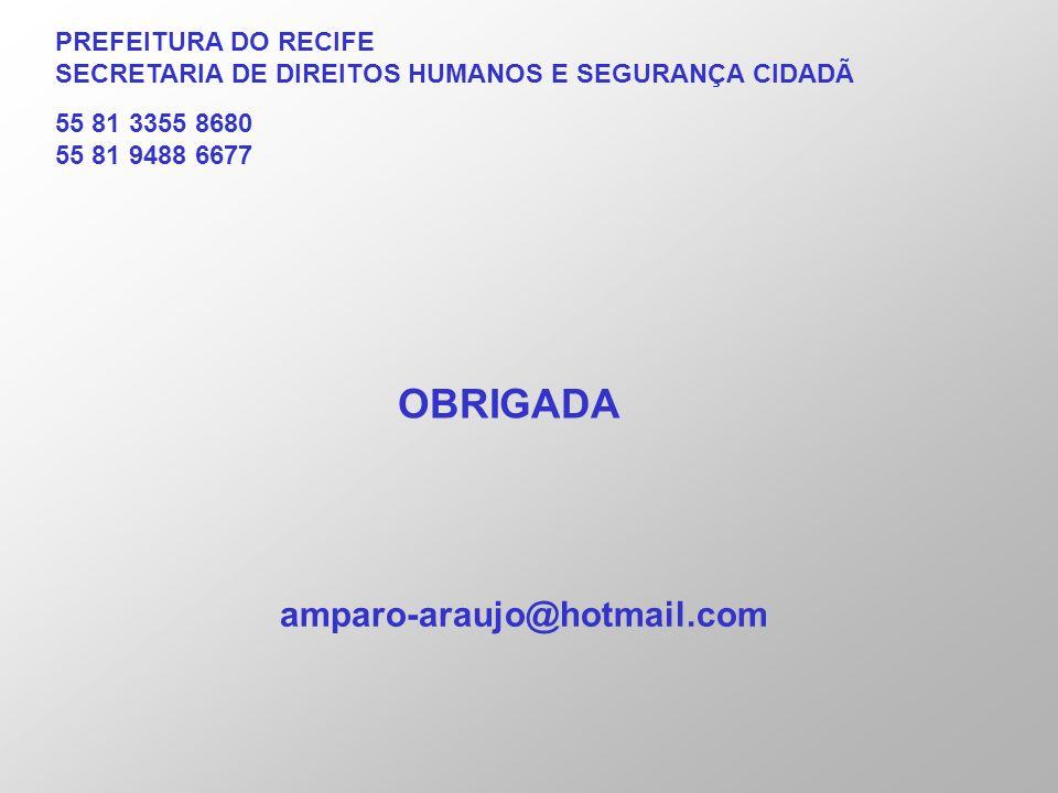 PREFEITURA DO RECIFE SECRETARIA DE DIREITOS HUMANOS E SEGURANÇA CIDADÃ 55 81 3355 8680 55 81 9488 6677 OBRIGADA amparo-araujo@hotmail.com