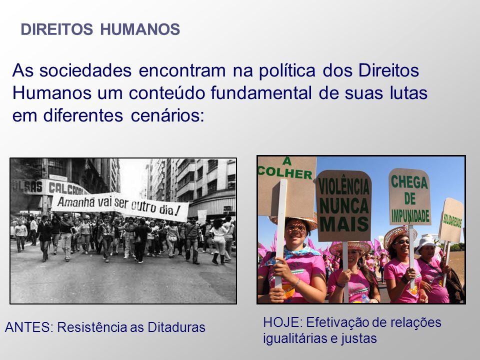 As sociedades encontram na política dos Direitos Humanos um conteúdo fundamental de suas lutas em diferentes cenários: DIREITOS HUMANOS ANTES: Resistê