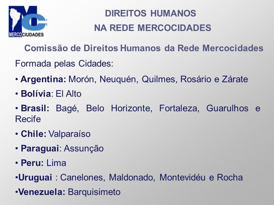DIREITOS HUMANOS NA REDE MERCOCIDADES Comissão de Direitos Humanos da Rede Mercocidades Formada pelas Cidades: Argentina: Morón, Neuquén, Quilmes, Ros