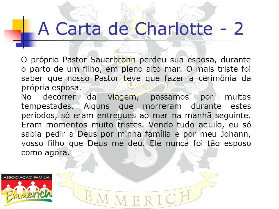 A Carta de Charlotte - 2 O próprio Pastor Sauerbronn perdeu sua esposa, durante o parto de um filho, em pleno alto-mar. O mais triste foi saber que no