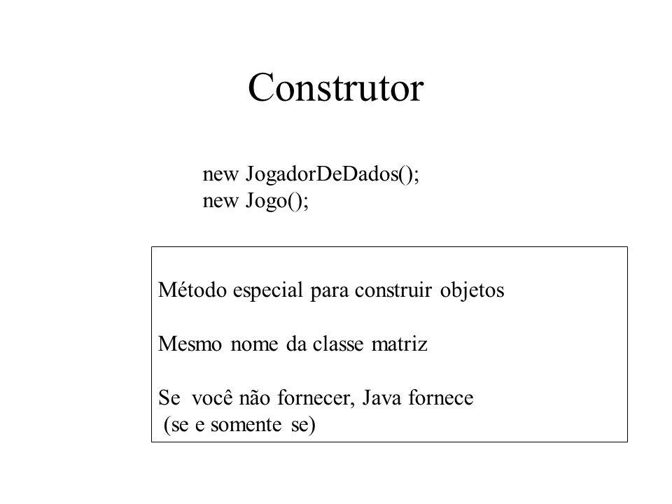 Construtor Método especial para construir objetos Mesmo nome da classe matriz Se você não fornecer, Java fornece (se e somente se) new JogadorDeDados(