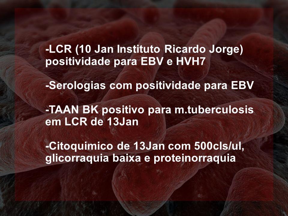 -LCR (10 Jan Instituto Ricardo Jorge) positividade para EBV e HVH7 -Serologias com positividade para EBV -TAAN BK positivo para m.tuberculosis em LCR