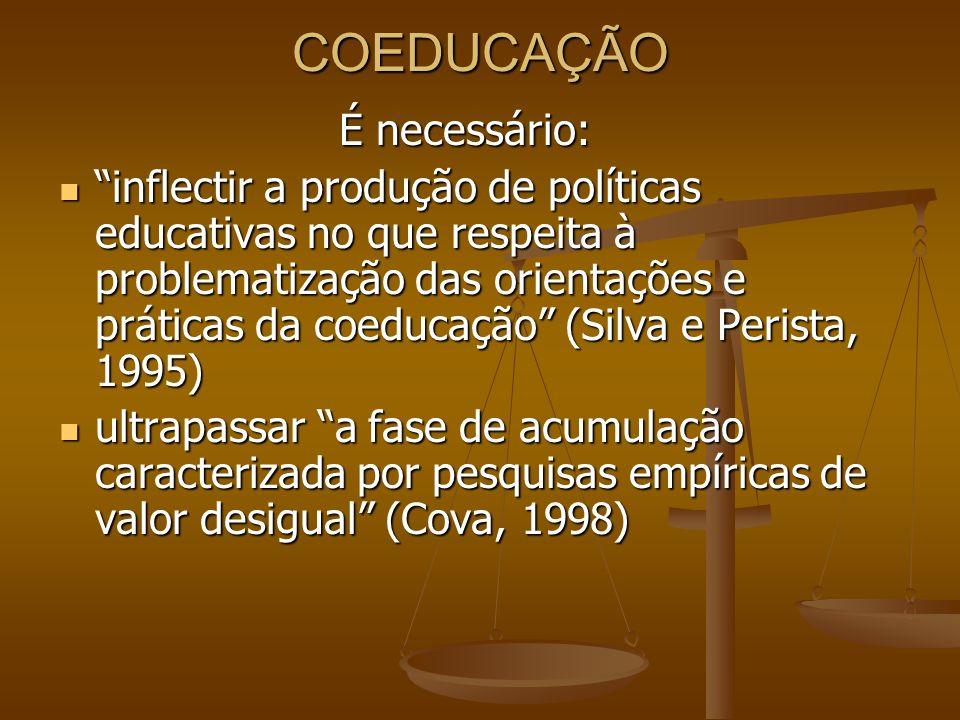 COEDUCAÇÃO É necessário: inflectir a produção de políticas educativas no que respeita à problematização das orientações e práticas da coeducação (Silv