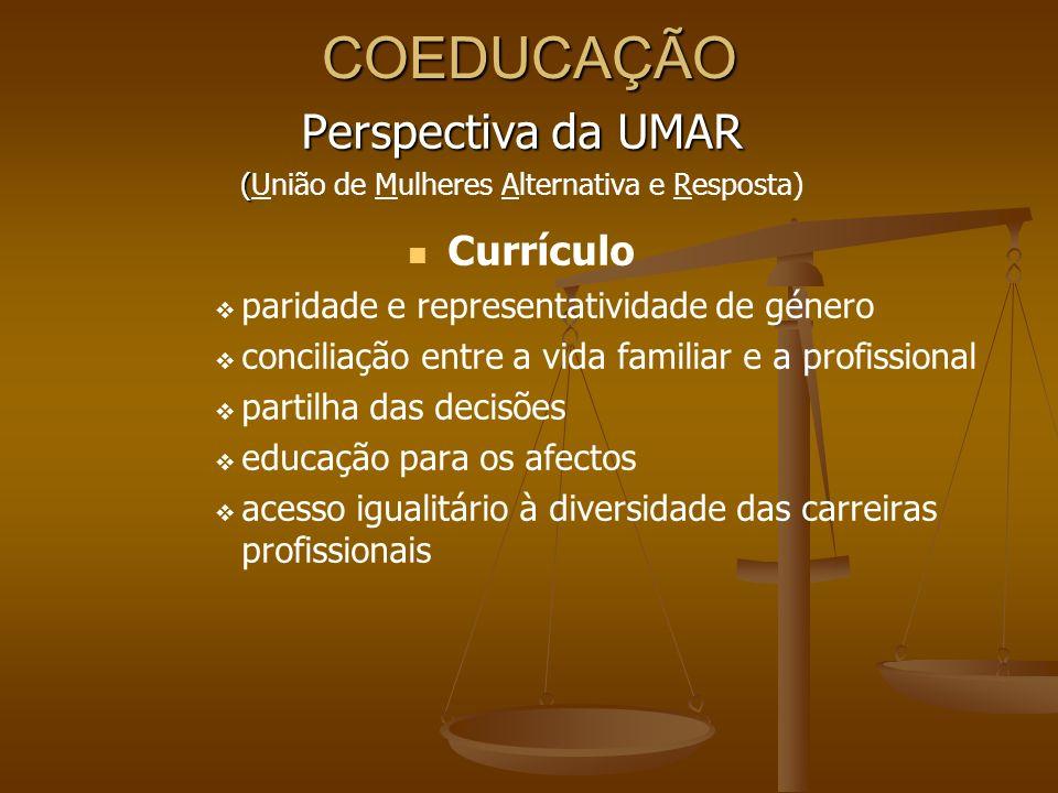 COEDUCAÇÃO Perspectiva da UMAR ( (União de Mulheres Alternativa e Resposta) Currículo paridade e representatividade de género conciliação entre a vida