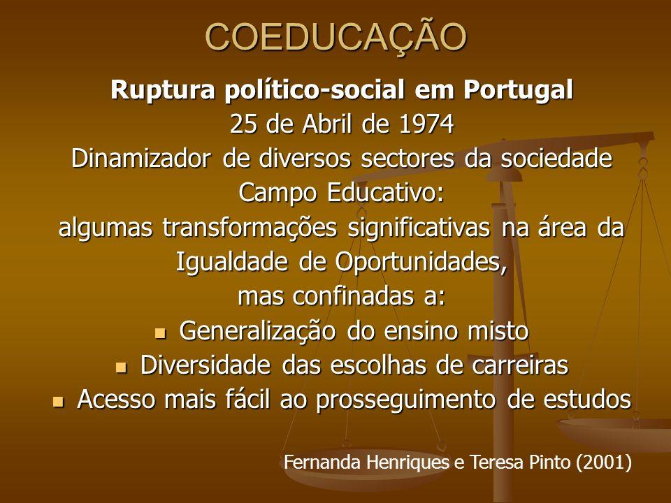 COEDUCAÇÃO Ruptura político-social em Portugal 25 de Abril de 1974 Dinamizador de diversos sectores da sociedade Campo Educativo: algumas transformaçõ