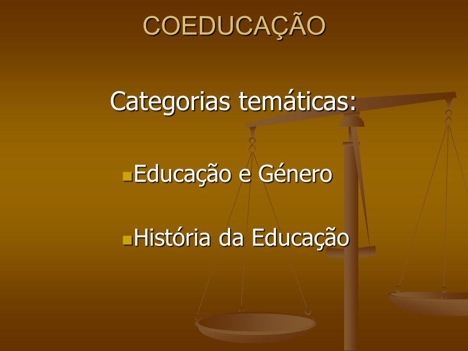 COEDUCAÇÃO Categorias temáticas: Educação e Género Educação e Género História da Educação História da Educação