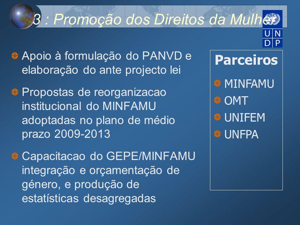 3 : Promoção dos Direitos da Mulher Apoio à formulação do PANVD e elaboração do ante projecto lei Propostas de reorganizacao institucional do MINFAMU