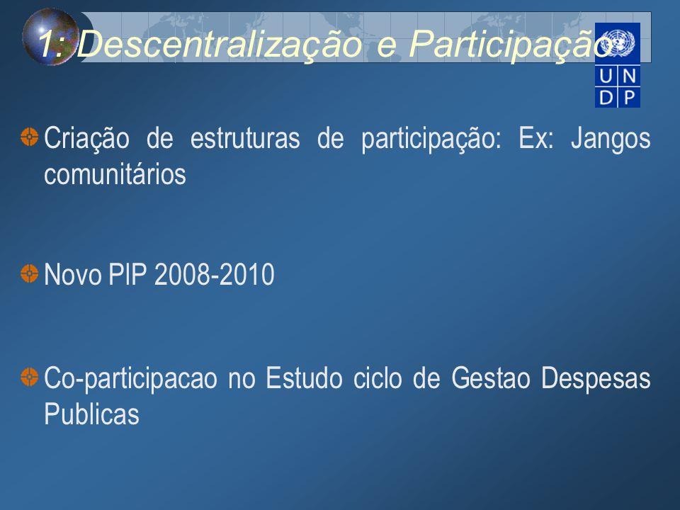 1: Descentralização e Participação Criação de estruturas de participação: Ex: Jangos comunitários Novo PlP 2008-2010 Co-participacao no Estudo ciclo d