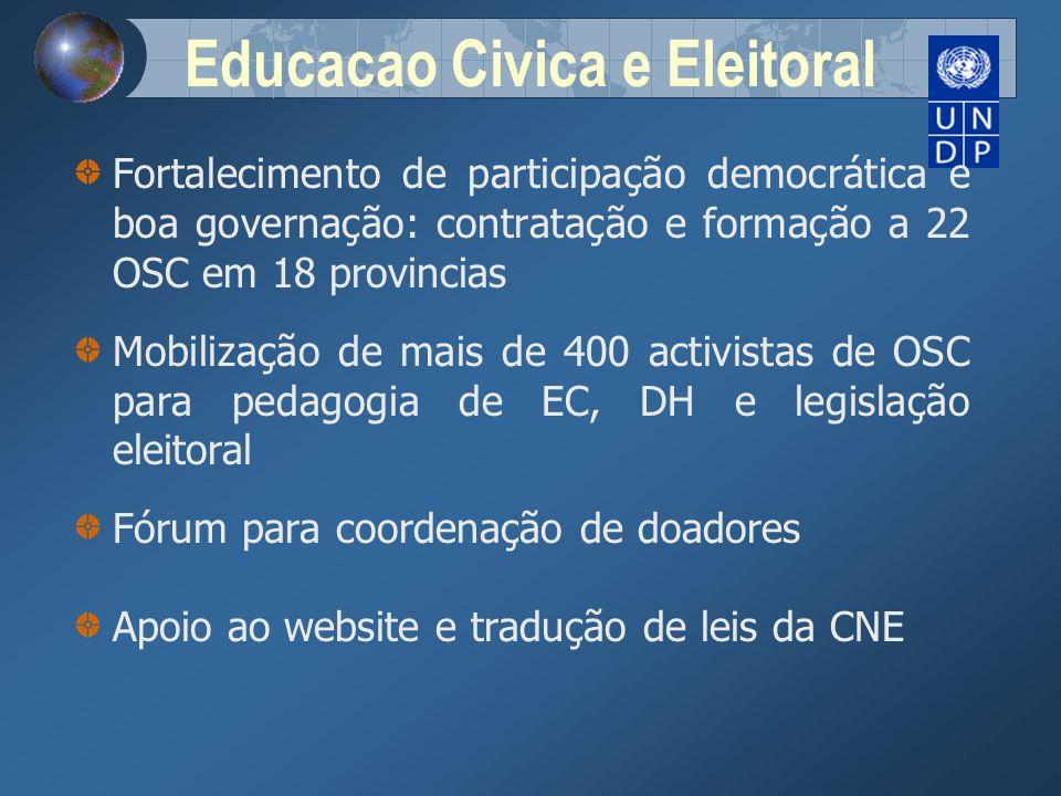 Educacao Civica e Eleitoral Fortalecimento de participação democrática e boa governação: contratação e formação a 22 OSC em 18 provincias Mobilização