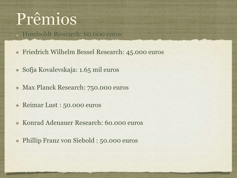 Prêmios Humboldt Research: 60.000 euros Friedrich Wilhelm Bessel Research: 45.000 euros Sofja Kovalevskaja: 1.65 mil euros Max Planck Research: 750.00